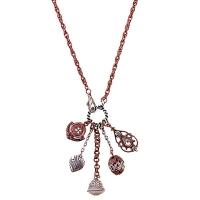 Rose Gold/Silver-tone Charm Necklace 24 In