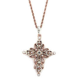 Rose Gold-Tone and Silver-Tone Crystal Cross Necklace 30 In