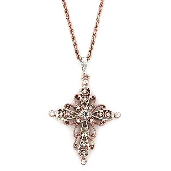 Rose Gold-Tone und Silber-Tone Crystal Cross Halskette 30 In