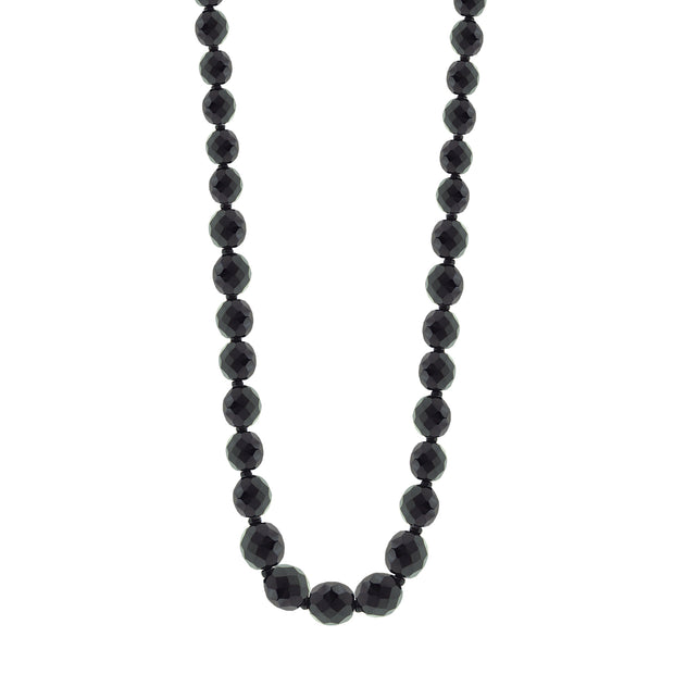 Jet/Jet Graduated Beaded Necklace 32