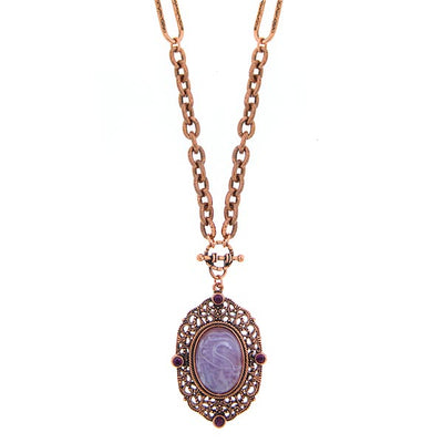 Jewelry Amethyst Color Pendant Necklace 30 In""