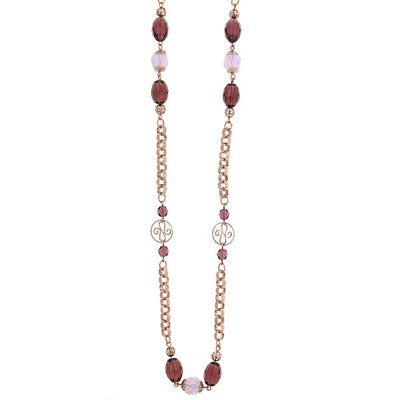 Rose Gold Tone Amy Pink Beaded Necklace 48