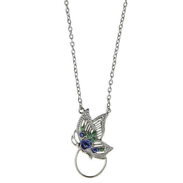 Silver-Tone Blue and Green Enamel Butterfly Badge And Eyeglass Holder Necklace 28