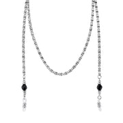 Silver-Tone Chain Black Bead Eyeglass Holder Necklace 30