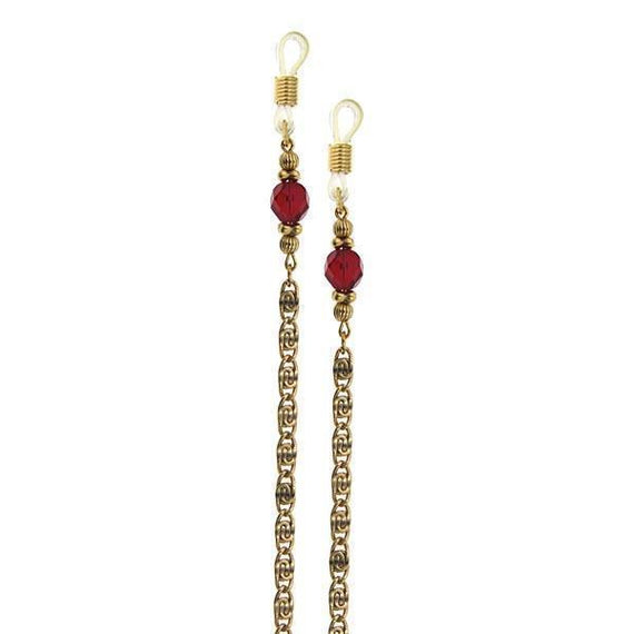 Gold-Tone Chain Red Bead Eyeglass Holder 30