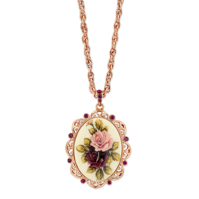 Rose Gold Tone Purple Crystal Flower Oval Pendant Necklace 28 In