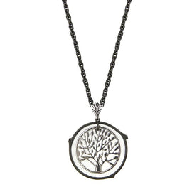 Black-Tone and Silver-Tone Tree in Circle Pendant Necklace 26