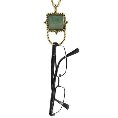 Gold-Tone Gemstone Aventurine Square Badge And Eyeglass Holder Necklace 30