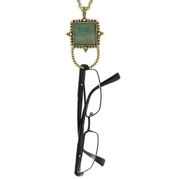 Gold Tone Gemstone Aventurine Square Badge And Eyeglass Holder Necklace 30