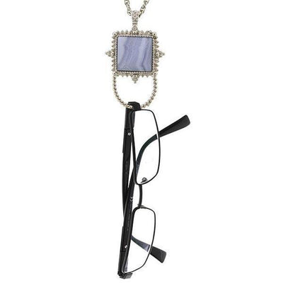 Silver-Tone Gemstone Blue Lace Agate Square Badge And Eyeglass Holder Necklace 30