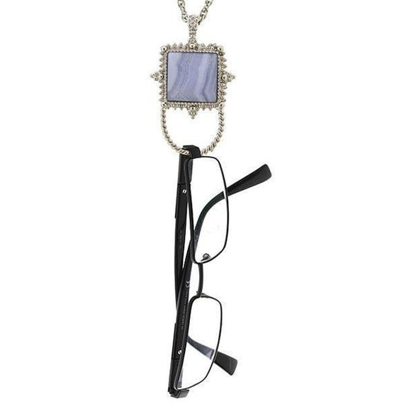 Silver-Tone Semi-Precious Blue Lace Agate Square Eyeglass/Badge Holder 30