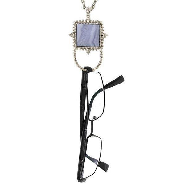 Silver Tone Gemstone Blue Lace Agate Square Badge And Eyeglass Holder Necklace 30