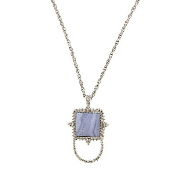 Square Blue Lace Gemstone Badge And Eyeglass Holder Necklace 30 Inch