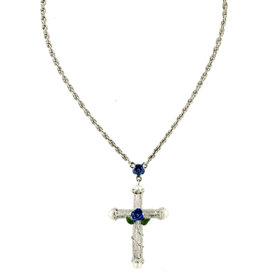 Silver-tone/Blue Enamel Cross Necklace 30