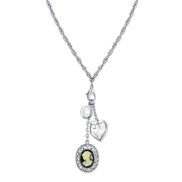 Silver Tone Heart And Black Oval Cameo Charm Necklace 26 In