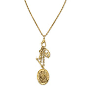 Gold-Tone Key, Heart and Oval Filigree Locket Charm Necklace 26 In