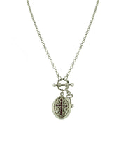 Silver Tone Birthstone Cross Locket Necklace March