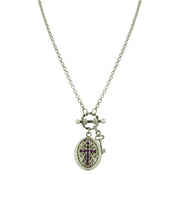 Silver-Tone Birthstone Cross Locket Necklace 24 Inch