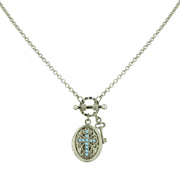 Silver-Tone Birthstone Cross Locket Necklace MAY