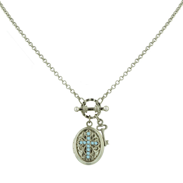 Silver Tone Birthstone Cross Locket Necklace May