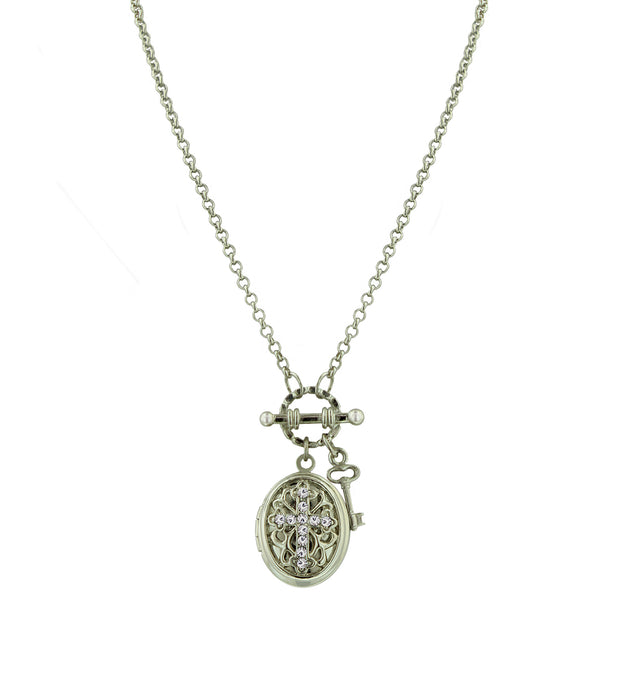Silver-Tone Birthstone Cross Locket Necklace AUGUST