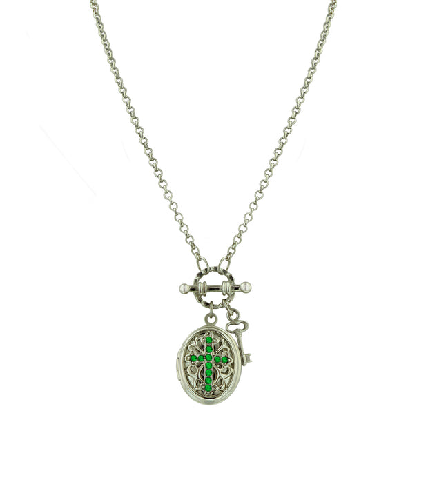 Silver-Tone Birthstone Cross Locket Necklace JUNE