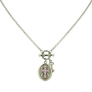 Silver-Tone Birthstone Cross Locket Necklace JULY