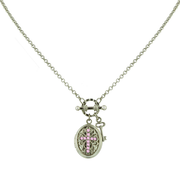 Silver Tone Birthstone Cross Locket Necklace July