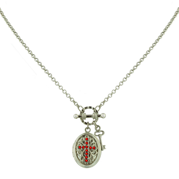 Silver-Tone Birthstone Cross Locket Necklace SEPTEMBER