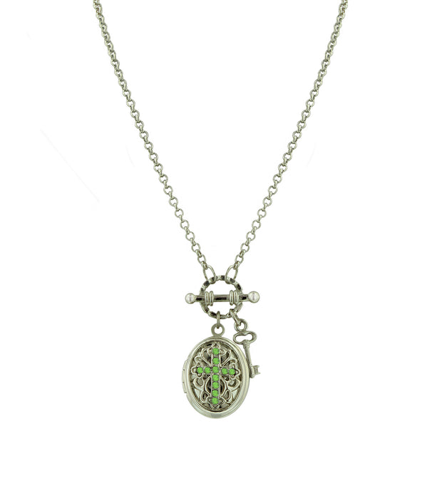 Silver Tone Birthstone Cross Locket Necklace