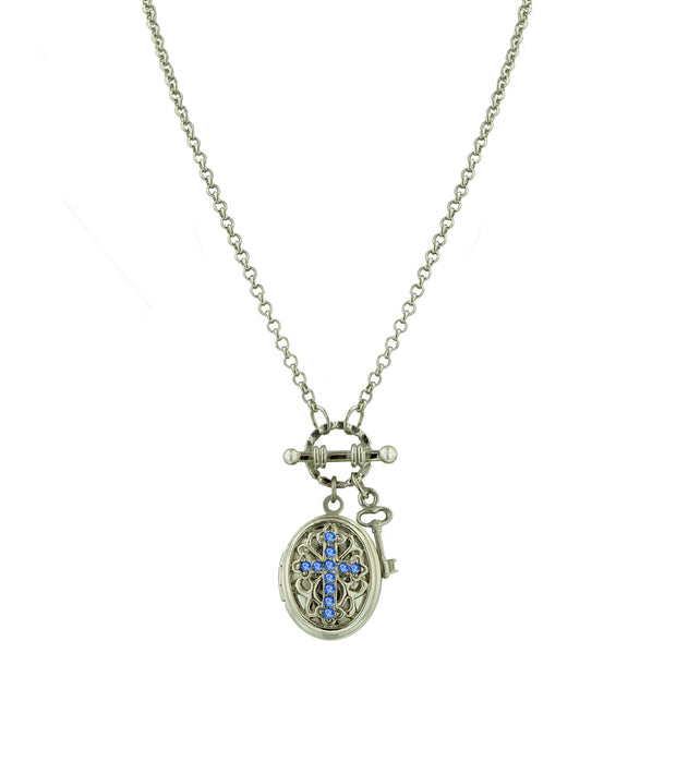 Silver Tone Birthstone Cross Locket Necklace October