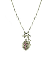 Silver-Tone Birthstone Cross Locket Necklace NOVEMBER