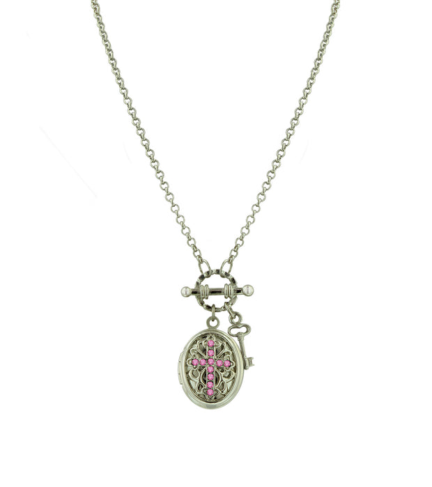 Silver Tone Birthstone Cross Locket Necklace November