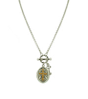 Silver Tone Birthstone Cross Locket Necklace December