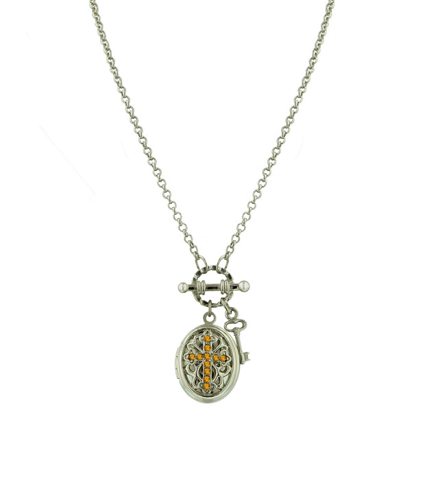 Silver-Tone Birthstone Cross Locket Necklace