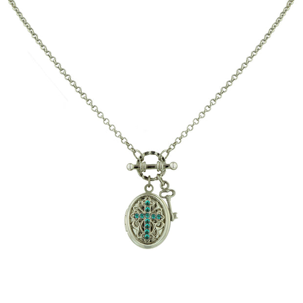 Silver-Tone Birthstone Cross Locket Necklace APRIL
