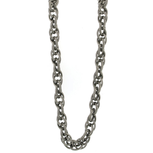 Silver Tone Large Chain Necklace 30 In