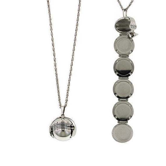 Silver-Tone Round 6 Picture Locket Necklace 30