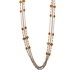 Fashion Jewelry - Amber Brown Illusions Triple Strand Necklace