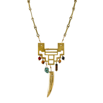 14K Gold Dipped Tusk Geometric Gemstone Necklace 28 In
