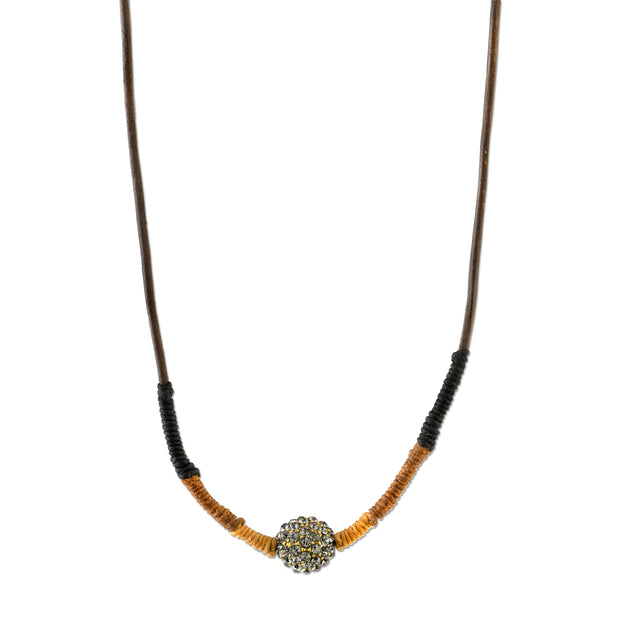 14K Gold-Dipped Black Diamond Color Fireball Linen Wrapped Necklace 15 In -28  Adj