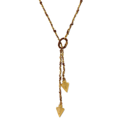 Matte 14K Gold Dipped Double Arrowhead Wrapped Lariat Necklace 42 In
