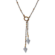 Pewter-Tone Double Arrowhead Waxed Linen Wrapped Lariat Necklace 42 In