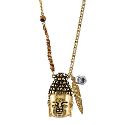 Waxed Linen Wrapped Chain With 14K Gold Dipped Buddha Head Necklace 28 In