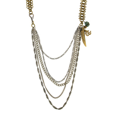 Mixed Metal Multi Swag Layer Charm Necklace 30 In