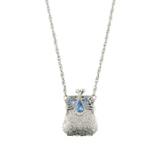 Silver Tone Purse Light Sapphire Blue Locket Necklace 32 In