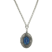 Silver-Tone Montana Intaglio Locket Necklace 32 In
