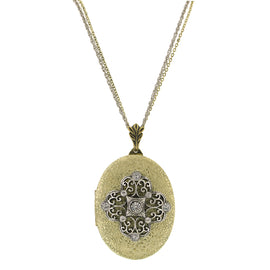 Fashion Jewelry - Gold-Tone and Silver-Tone Crystal Filigree Locket Necklace
