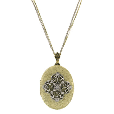 Brass Silver-Tone w/ Crystal Filigree Locket Necklace 32 In
