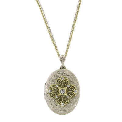 Silver-Tone Brass Olivine Filigree Locket Necklace 32 In